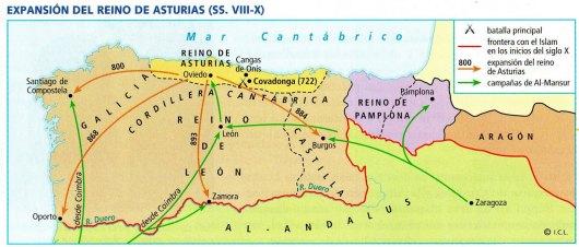 Expasión del reino asturiano / Fuente: losreinoscristianos.wordpress.com